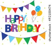 birthday card with balloon... | Shutterstock .eps vector #492100474