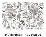 happy halloween. set of hand... | Shutterstock .eps vector #492102601