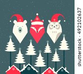 bear  fox and owl. merry...   Shutterstock .eps vector #492102637