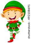 little elf with happy face... | Shutterstock .eps vector #492108691
