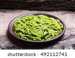 pasta with spinach pesto sauce  ... | Shutterstock . vector #492112741