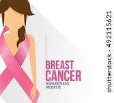 breast cancer october awareness ... | Shutterstock .eps vector #492115621