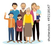 happy big family | Shutterstock .eps vector #492118147