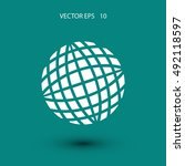 globe earth icon  flat design... | Shutterstock .eps vector #492118597