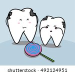 cute cartoon smiling tooth and... | Shutterstock .eps vector #492124951