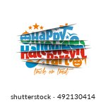happy halloween party greeting... | Shutterstock .eps vector #492130414