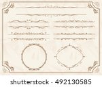 decorative gold frame set... | Shutterstock .eps vector #492130585