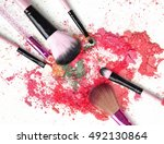 various makeup brush products... | Shutterstock . vector #492130864