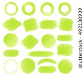 watercolor shapes green color... | Shutterstock .eps vector #492130939