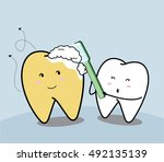 Cute Cartoon Tooth And Yellow...