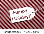 label on red wrapping paper ... | Shutterstock . vector #492135349
