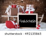 sleigh with gifts  snow ... | Shutterstock . vector #492135865