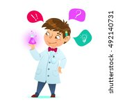 cute little smart boy. the boy... | Shutterstock .eps vector #492140731