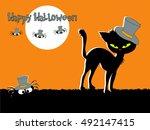 halloween banners with black... | Shutterstock . vector #492147415