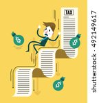 businessman and his money... | Shutterstock .eps vector #492149617
