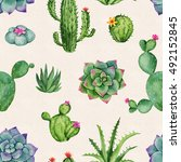 cactus and succulent watercolor ... | Shutterstock . vector #492152845