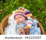 newborn baby girl lying in... | Shutterstock . vector #492153337
