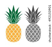 pineapple with leaf icons set.... | Shutterstock .eps vector #492153901