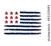 american flag grunge  symbol... | Shutterstock .eps vector #492155491
