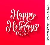 happy holidays gold glitter... | Shutterstock .eps vector #492156634