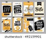 set of social media sale... | Shutterstock .eps vector #492159901