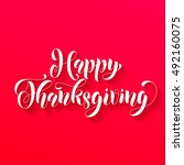 happy thanksgiving greetings... | Shutterstock .eps vector #492160075