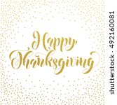 happy thanksgiving greetings... | Shutterstock .eps vector #492160081