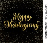 happy thanksgiving greetings... | Shutterstock .eps vector #492160084