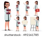 set character female doctor in... | Shutterstock .eps vector #492161785