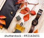 closeup of men's accessories... | Shutterstock . vector #492163651