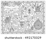 ancient maya or pirate map for... | Shutterstock .eps vector #492170329