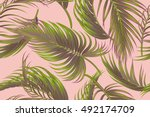 tropical palm leaves  jungle... | Shutterstock .eps vector #492174709