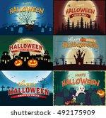 vintage halloween poster design. | Shutterstock .eps vector #492175909