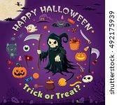 vintage halloween poster design ... | Shutterstock .eps vector #492175939