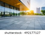 modern building and empty... | Shutterstock . vector #492177127
