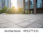 modern building and empty... | Shutterstock . vector #492177151