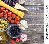 food frame. pasta ingredients.... | Shutterstock . vector #492180421