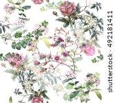wallpaper  watercolor painting... | Shutterstock . vector #492181411