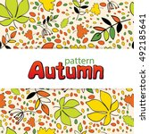 pattern with autumn leaves | Shutterstock .eps vector #492185641