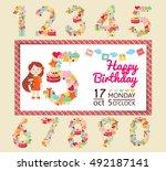 birthday anniversary numbers... | Shutterstock .eps vector #492187141