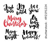 merry christmas text and... | Shutterstock .eps vector #492191224