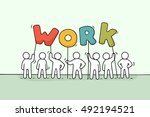 cartoon working little people... | Shutterstock .eps vector #492194521