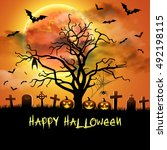 spooky card for halloween.... | Shutterstock . vector #492198115