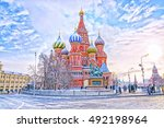 saint basil's cathedral in red... | Shutterstock . vector #492198964