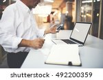 close up businessman in white... | Shutterstock . vector #492200359