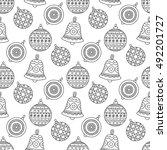 christmas toys pattern. vector... | Shutterstock .eps vector #492201727