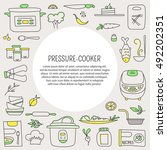 pressure cookers and products.... | Shutterstock .eps vector #492202351