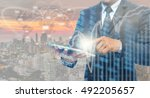 double exposure of businessman... | Shutterstock . vector #492205657