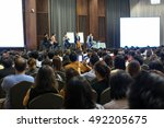 speakers on the stage with rear ... | Shutterstock . vector #492205675