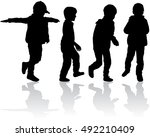 silhouettes of children. | Shutterstock .eps vector #492210409